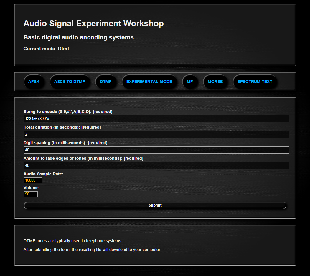Audio Signal Encoder Experiment